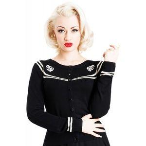 Voodoo Vixen Black and White PinUp Anchor Cardigan
